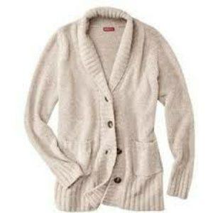 Merona Chenille Cardigan Button Sweater Beige Tan